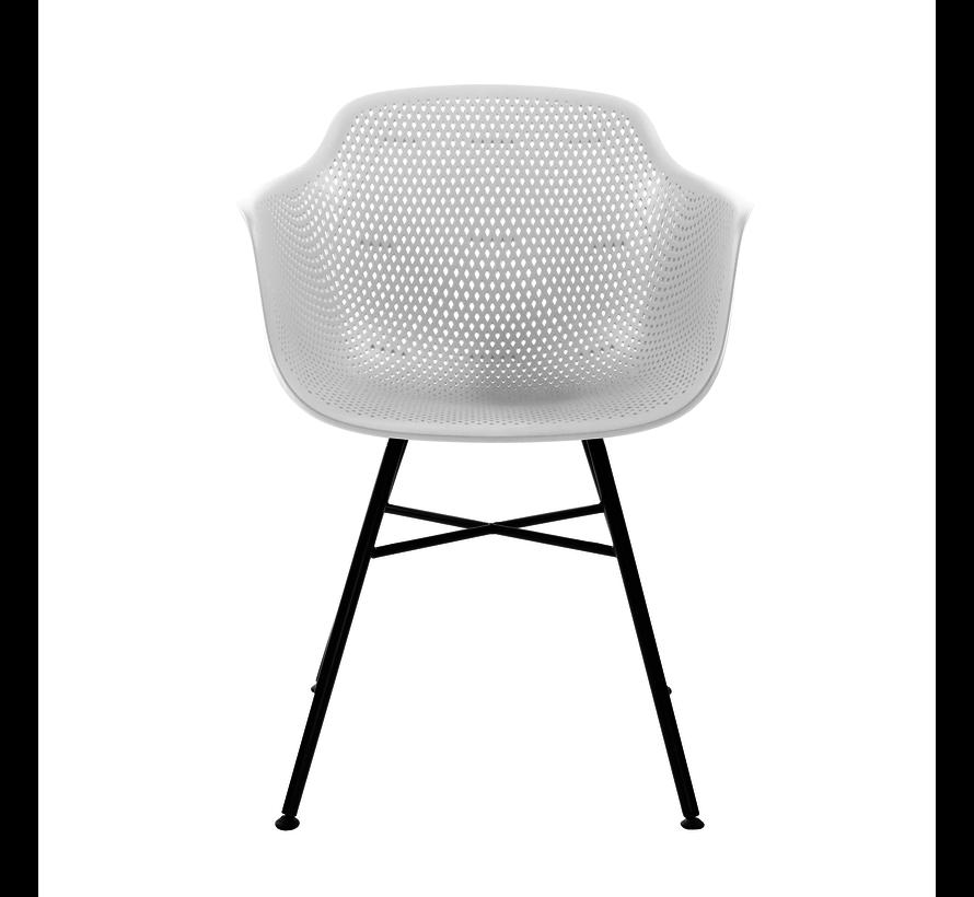 Garden Chair White Coated Metal Black Frame