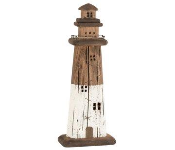 J-Line Decoration Lighthouse Wood Dark Brown White - Large