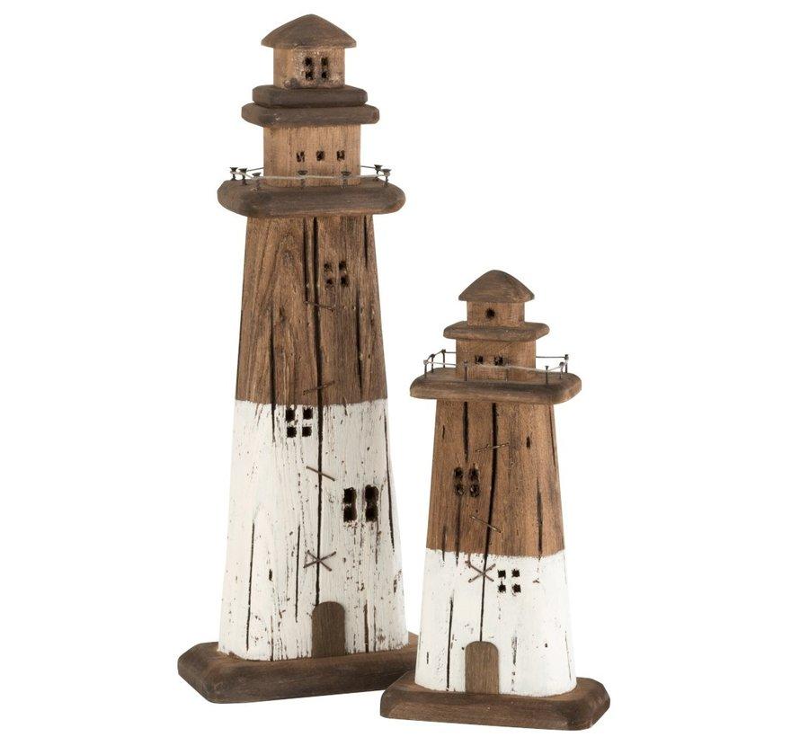 Decoration Lighthouse Wood Dark Brown White - Large