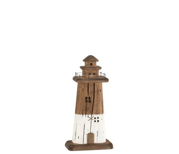 J-Line Decoration Lighthouse Wood Dark Brown White - Small