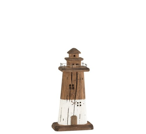 J -Line Decoration Lighthouse Wood Dark Brown White - Small