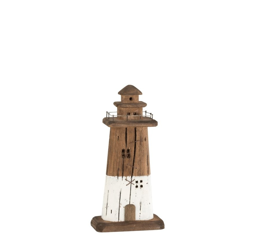 Decoration Lighthouse Wood Dark Brown White - Small