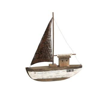 J-Line Decoration Sailboat Wood Dark Brown White - Large