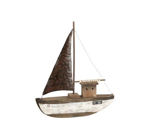 J-Line Decoratie Zeilboot Hout Donkerbruin Wit - Large