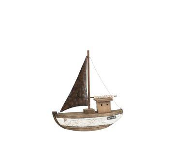 J-Line Decoratie Zeilboot Hout Donkerbruin Wit - Medium