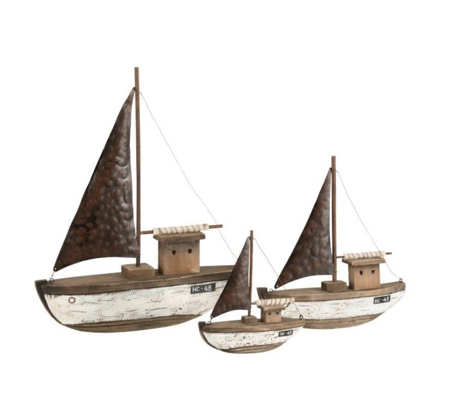 Decoration Sailboat Wood Dark Brown White - Medium