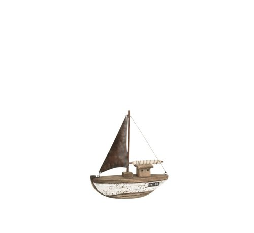 J -Line Decoration Sailboat Wood Dark Brown White - Small