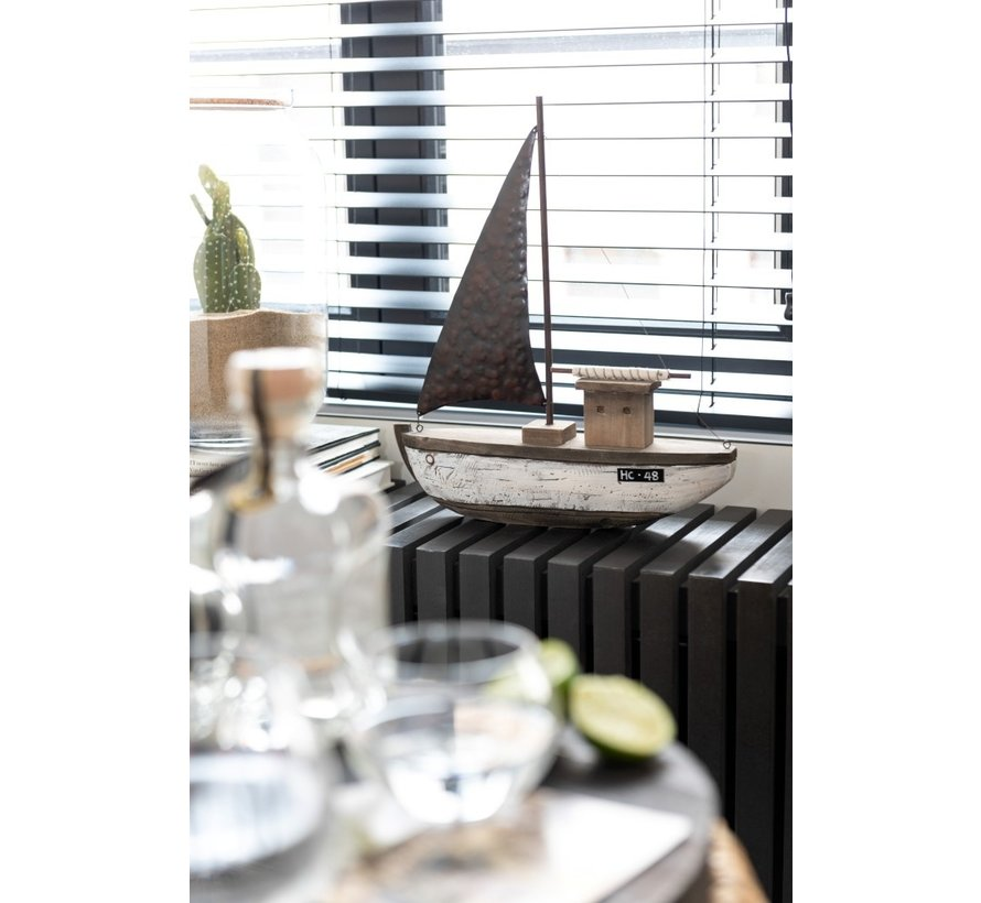 Decoration Sailboat Wood Dark Brown White - Small
