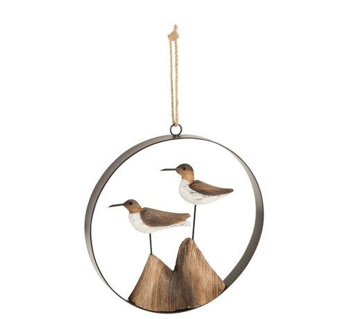 J-Line Home decoration Hanger Birds Wood Brown - White