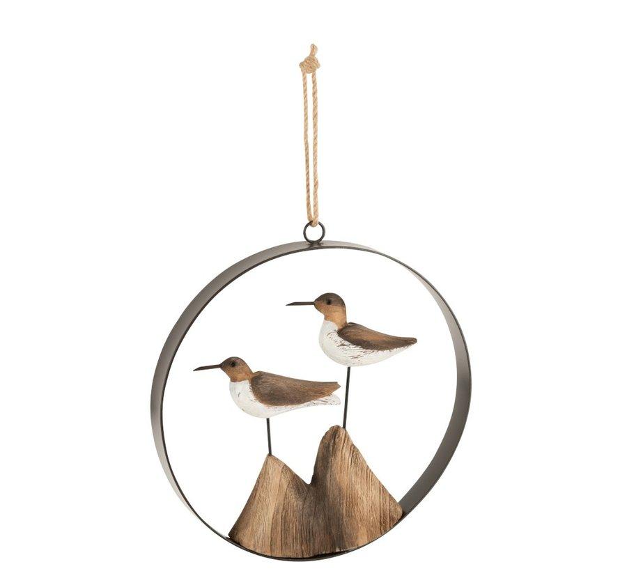 Home decoration Hanger Birds Wood Brown - White