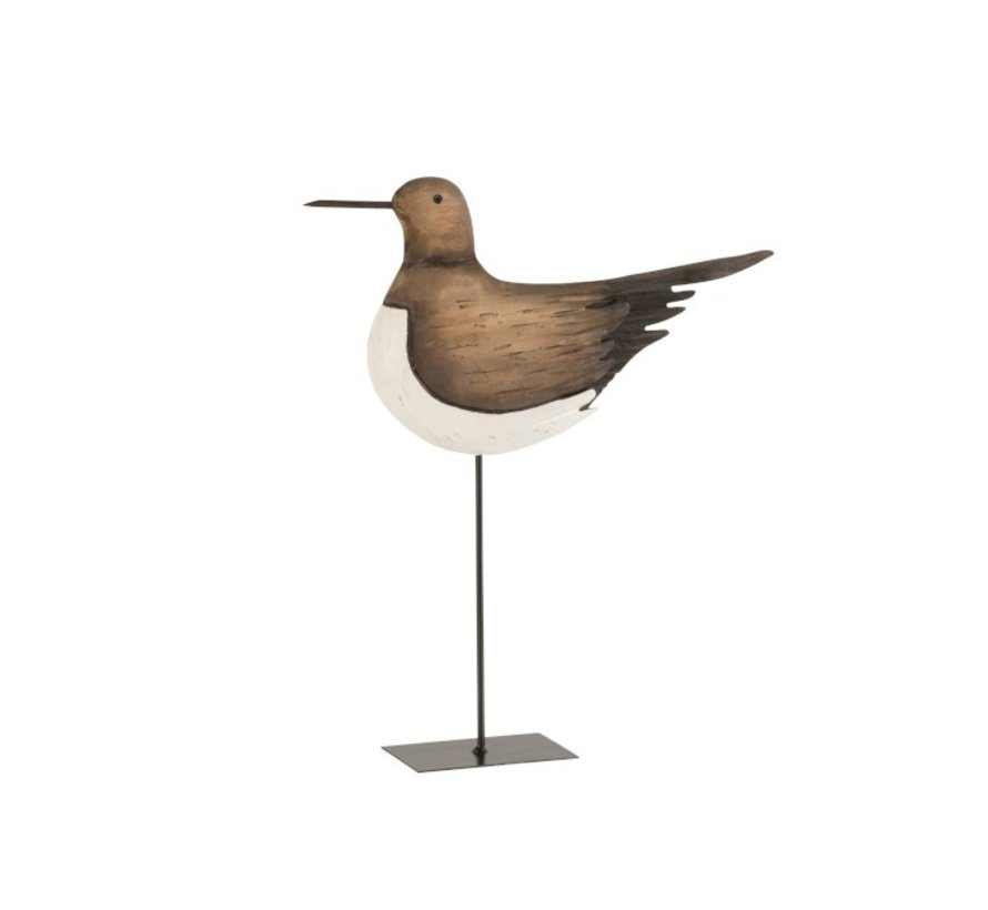 Decoration Oystercatcher On Foot Wood Brown White - Large