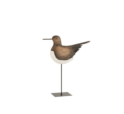 J -Line Decoration Oystercatcher On Foot Wood Brown White - Small