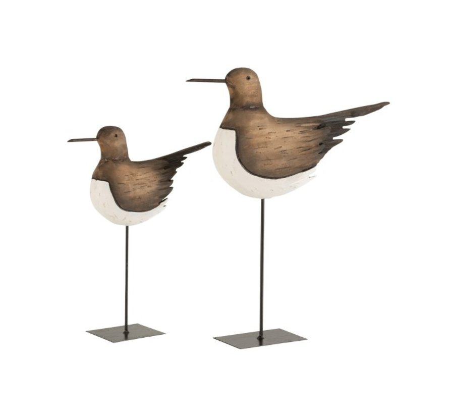 Decoration Oystercatcher On Foot Wood Brown White - Small