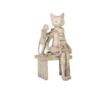 J-Line Decoration Figure Mother Cat Children On Sofa - Gray