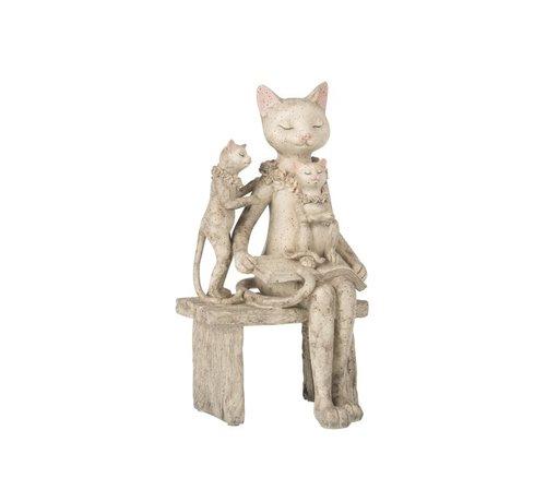 J -Line Decoration Figure Mother Cat Children On Sofa - Gray