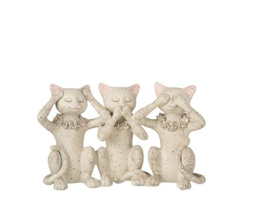 J -Line Decoration Figure Cats Hear See and Speak - Gray