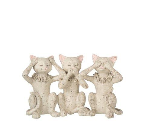 J -Line Decoratie Figuur Katten Horen Zien en Zwijgen - Grijs