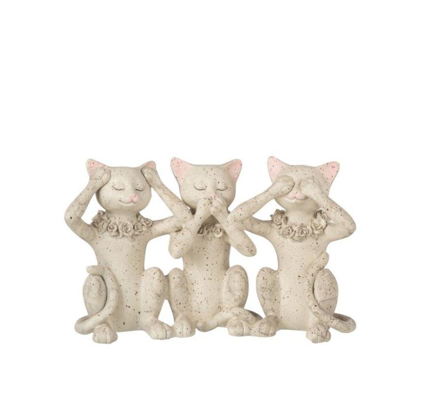 Decoratie Figuur Katten Horen Zien en Zwijgen - Grijs