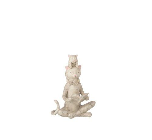J-Line Decoratie Figuur Kat Leest Boek En Kitten - Grijs