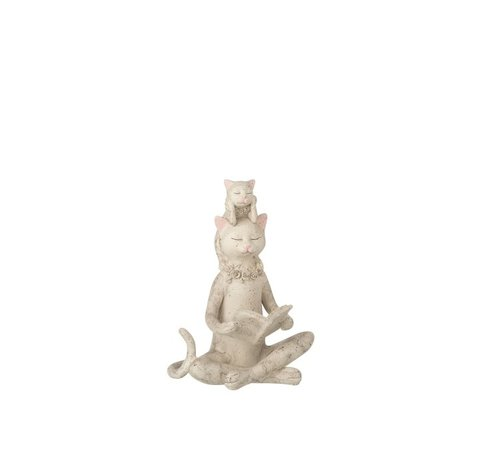 J -Line Decoration Figure Cat Reads Book And Kitten - Gray