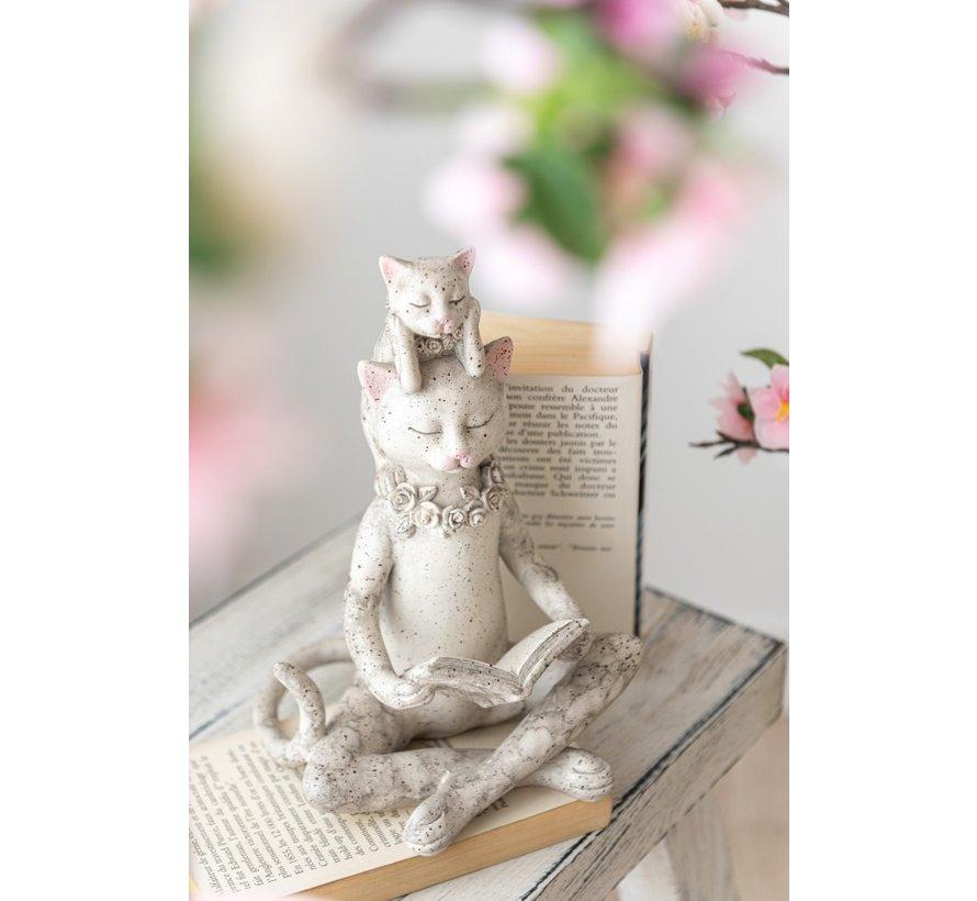Decoratie Figuur Kat Leest Boek En Kitten - Grijs