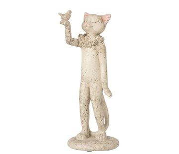 J -Line Decoration Figure Cat With Bird - Gray