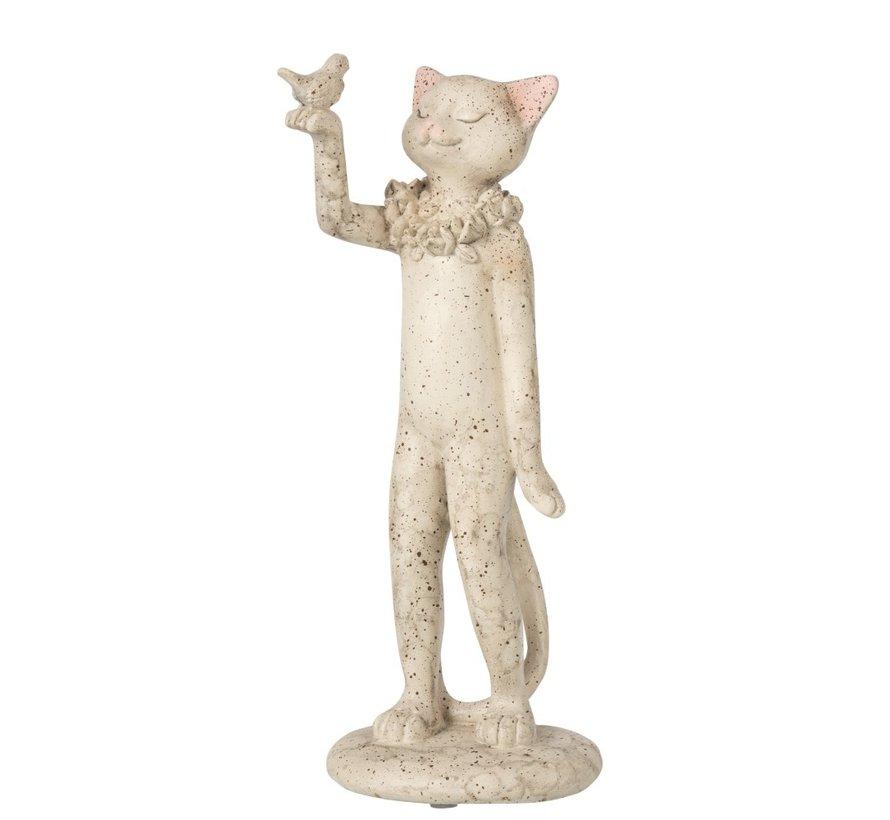 Decoration Figure Cat With Bird - Gray