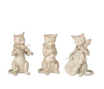J-Line Decoratie Figuur Muzikale Katten Beige - Grijs