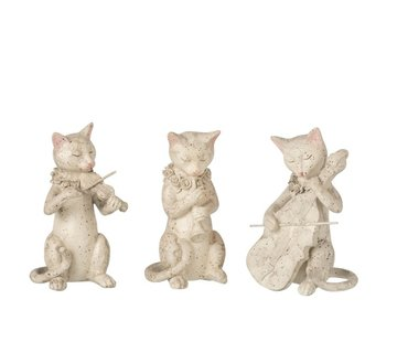 J -Line Decoration Figure Musical Cats Beige - Gray