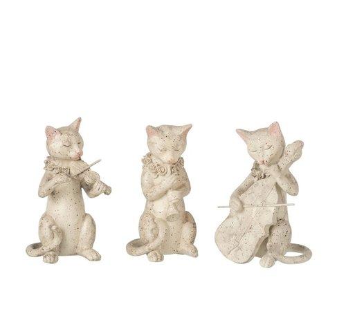 J -Line Decoratie Figuur Muzikale Katten Beige - Grijs