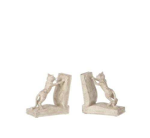 J -Line Decoratieve Boeksteunen Twee Kittens Beige - Grijs