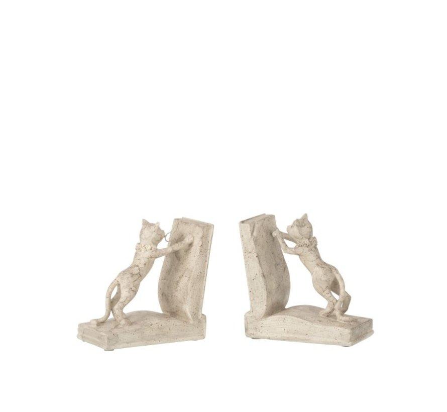 Decoratieve Boeksteunen Twee Kittens Beige - Grijs