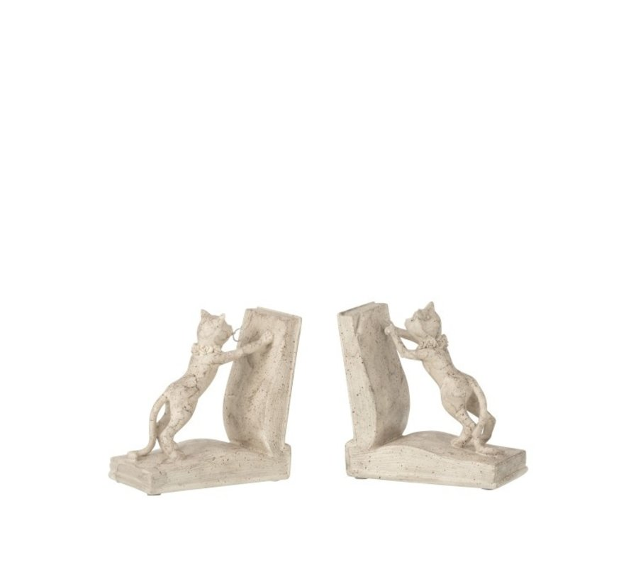 Decorative Bookends Two Kittens Beige - Gray