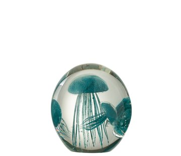 J -Line Paper Weight Three Jellyfish Spots - Turquoise