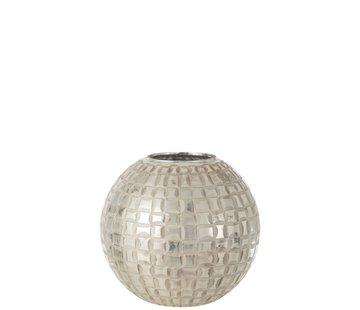 J -Line Tealight Holder Sphere Mosaic Glass Gray - Large