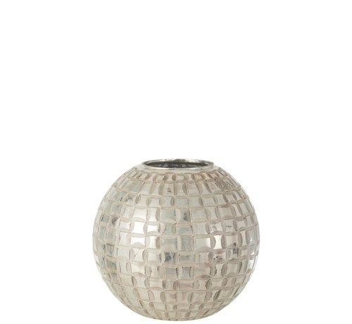 J -Line Tealight Holder Sphere Mosaic Glass Gray - Large