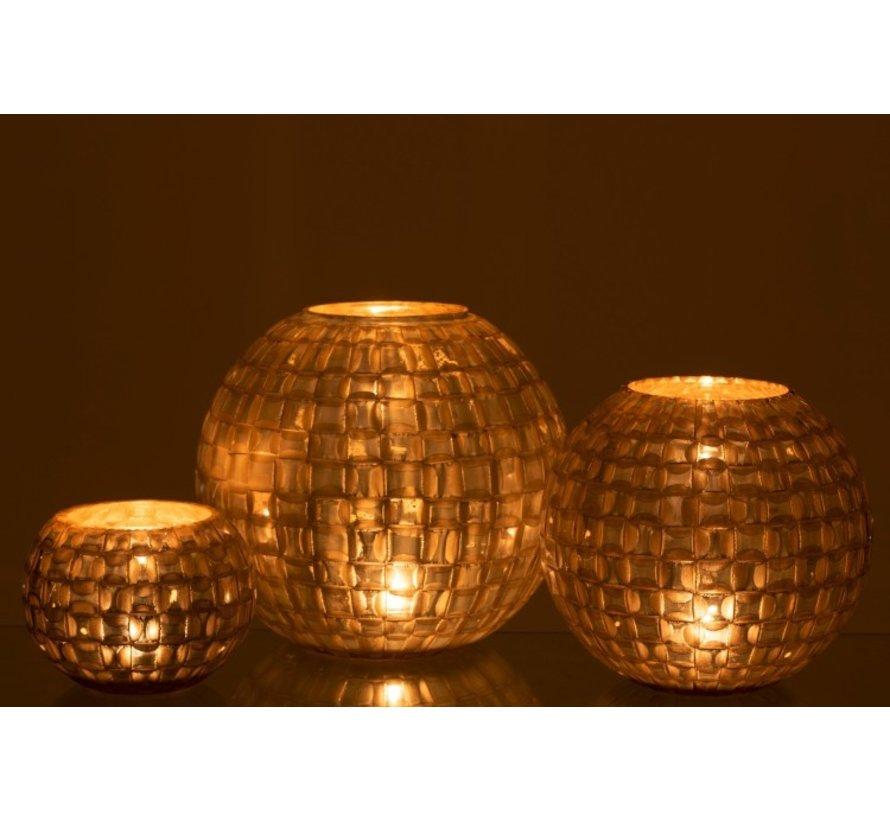 Tealight Holder Sphere Mosaic Glass Gray - Large
