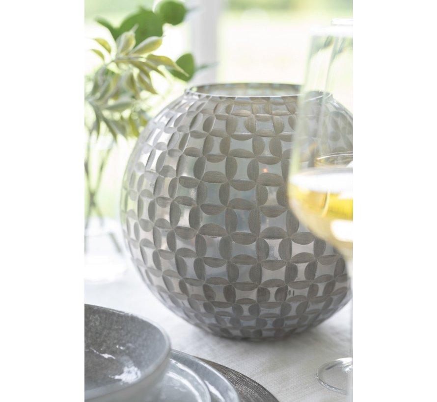 Theelichthouder Bol Mozaïek Glas Grijs - Large