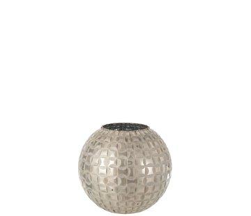 J -Line Tealight Holder Sphere Mosaic Glass Gray - Medium