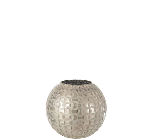 J -Line Tealight Holder Sphere Mosaic Glass Gray - Medium