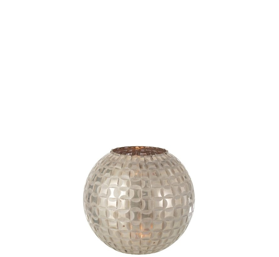 Tealight Holder Sphere Mosaic Glass Gray - Medium
