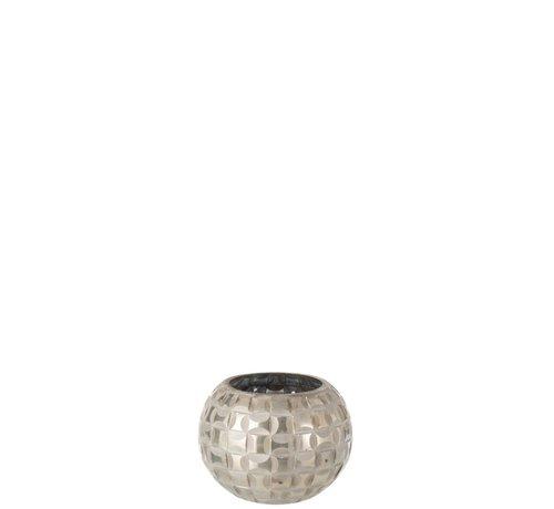 J-Line Theelichthouder Bol Mozaïek Glas Grijs - Small