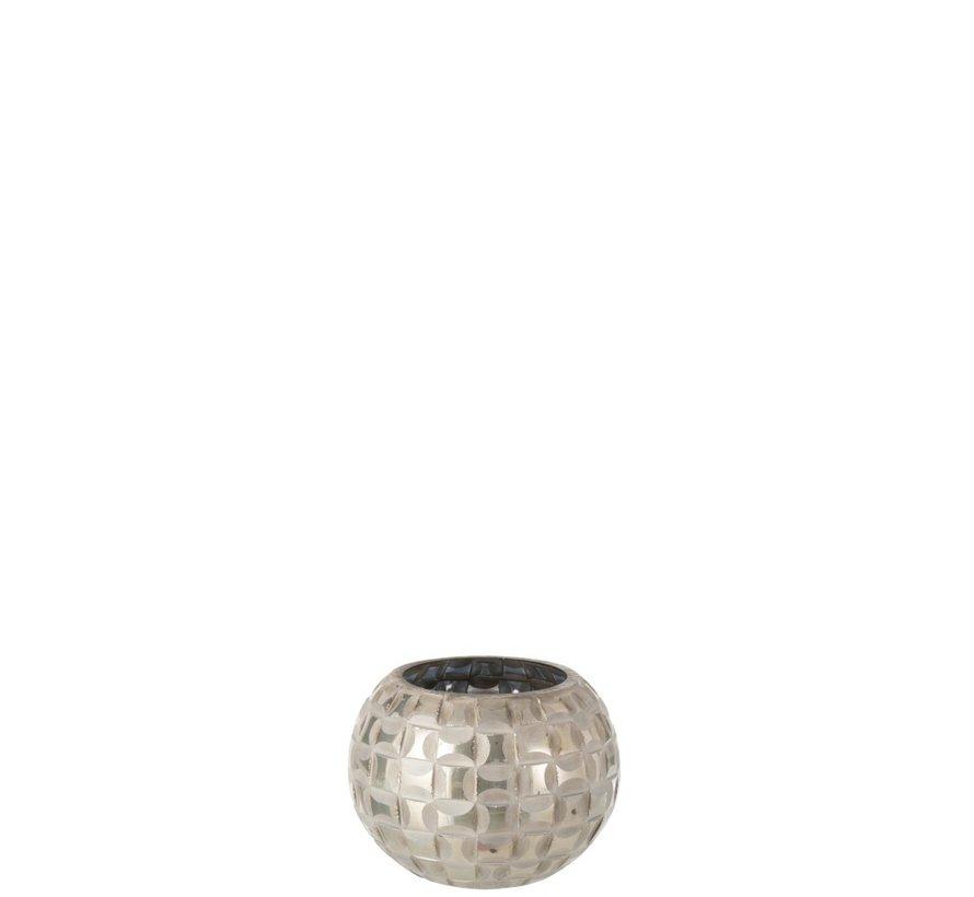 Theelichthouder Bol Mozaïek Glas Grijs - Small