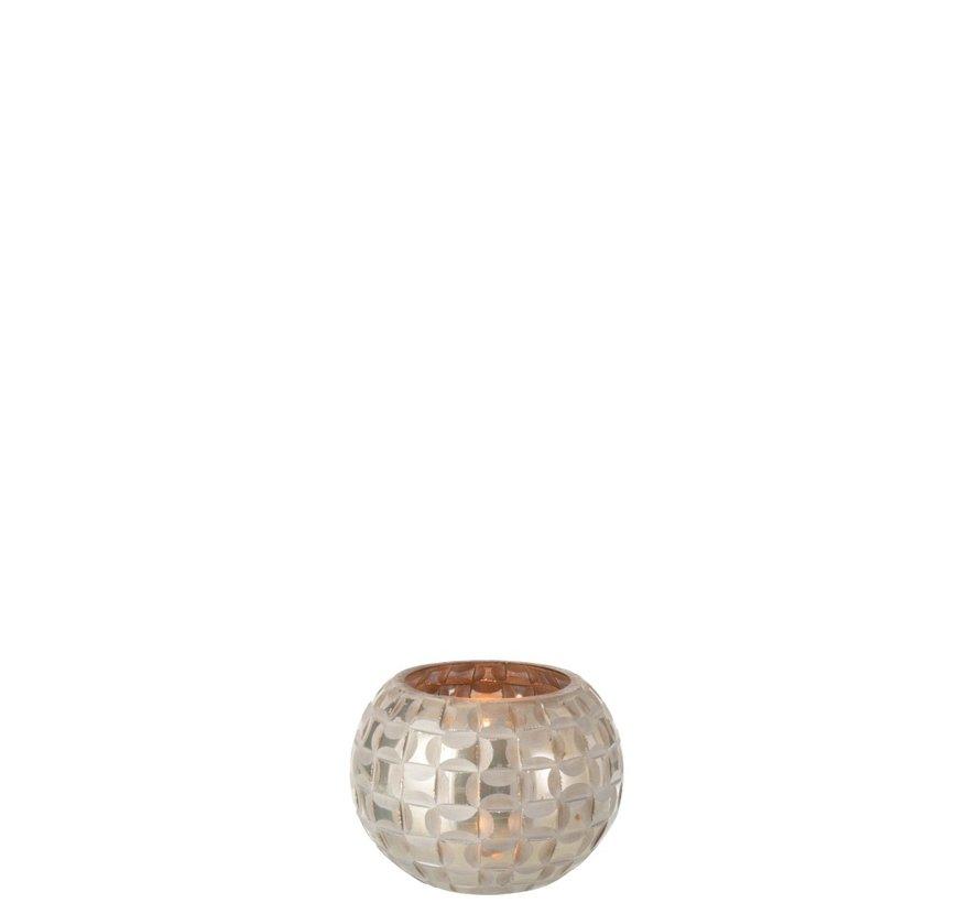 Tealight Holder Sphere Mosaic Glass Gray - Small