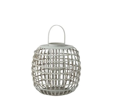 J-Line  Candle Lantern With Handle Bamboo Gray - Large