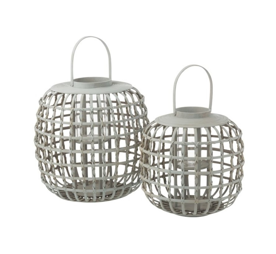 Candle Lantern With Handle Bamboo Gray - Large
