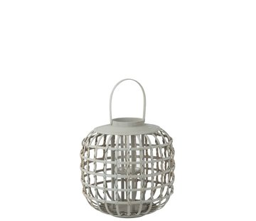 J-Line Candle Lantern With Handle Bamboo Gray - Small