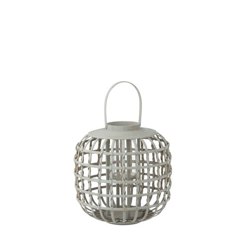 J -Line Candle Lantern With Handle Bamboo Gray - Small