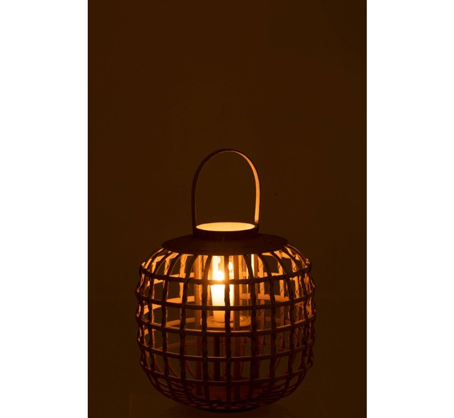 Candle Lantern With Handle Bamboo Gray - Small