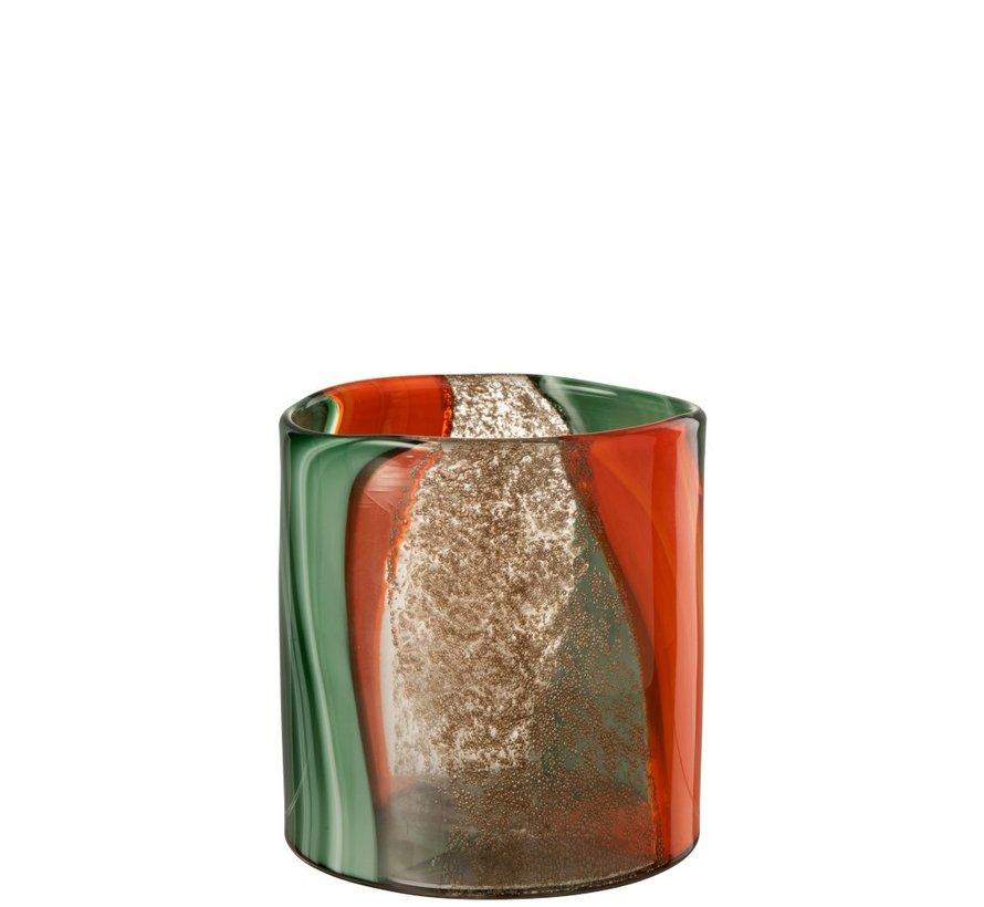 Vaas Laag Zomerse Kleuren Oranje Groen - Small